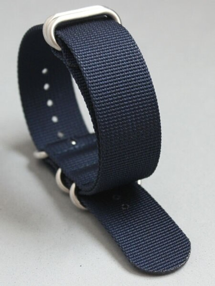 5-Ring NATO-Style Navy Blue Nylon Strap with Matte Finish Steel Buckle #NATO5R-19-SS