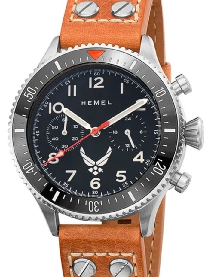 HEMEL Mecaquartz Chronograph Watch with 60-Minute Ceramic Bezel and Sapphire Crystal #HFUSAF1A