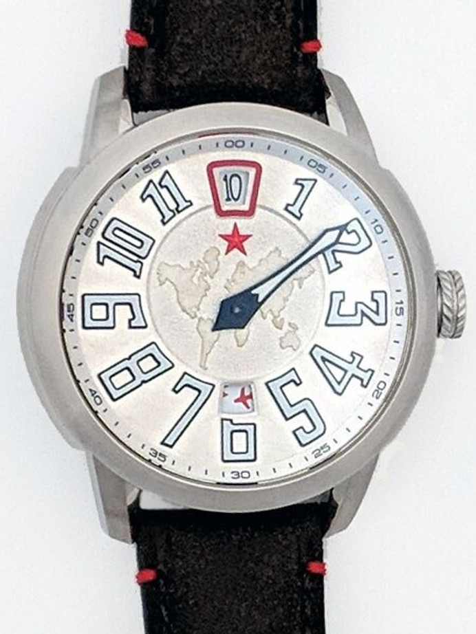 Red Star Jump Hour Automatic Watch AR Sapphire Crystal #8176G-C