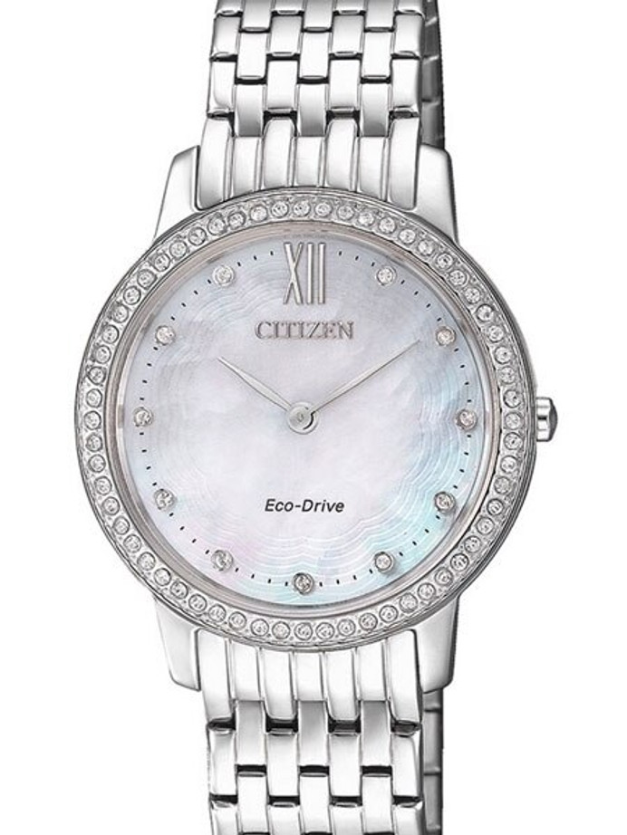 Citizen Ladies Eco-Drive Watch with MOP Dial and Swarovski Crystals #EX1480-82D