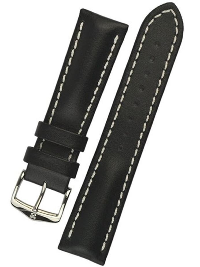 Hirsch Black Heavy Calf Leather Watch Strap #014750-50