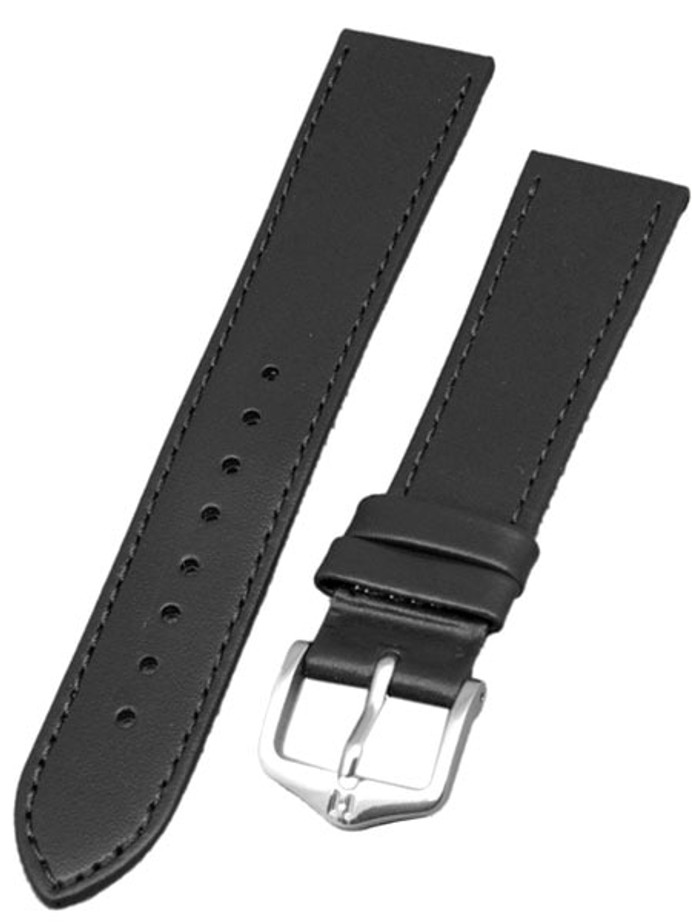 Hirsch Umbria Untextured Black Leather Watch Strap, Matching Stitching #137202-50
