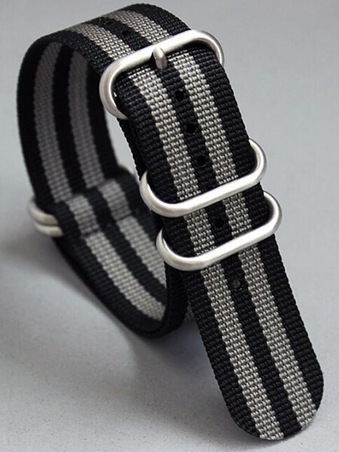 5-Ring NATO-Style Black, Grey Stripe Nylon Strap with Matte Finish Steel Buckle #NATO5R-4-SS
