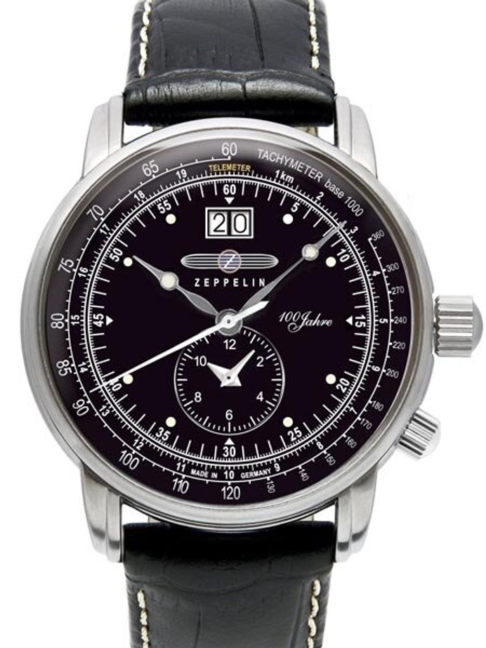 Graf Zeppelin German Made, Big Date, Dual Time Watch with Two Crowns. #7640-2