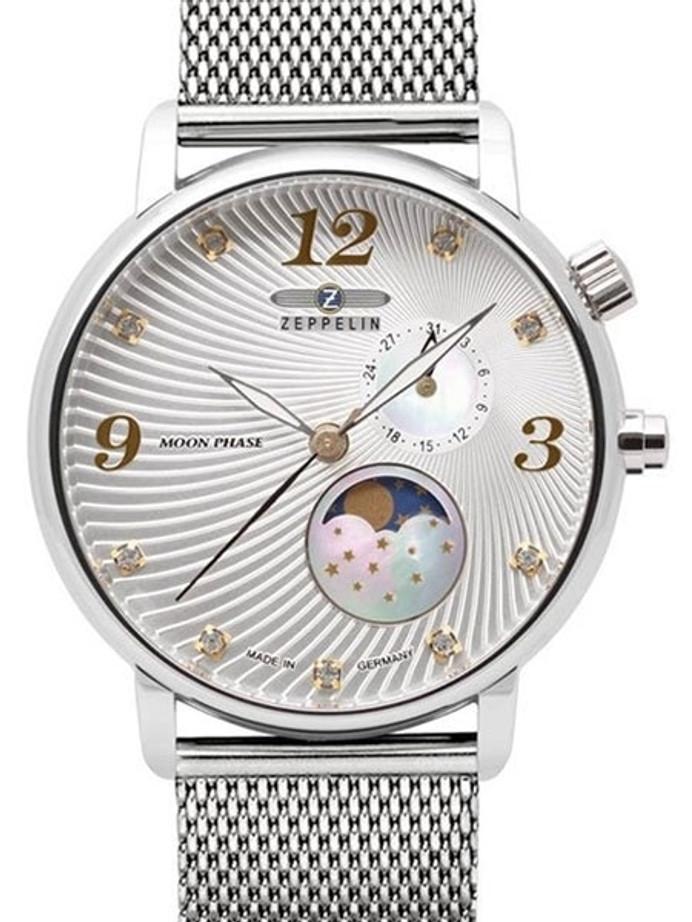 Graf Zeppelin Luna Swiss Quartz Watch with Swarovski Crystals and Moonphase #7637M-1