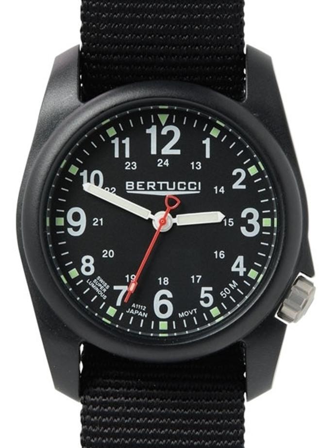 Bertucci DX3 Field Poly Resin Watch, Black Nylon Strap, Black Dial - 11015