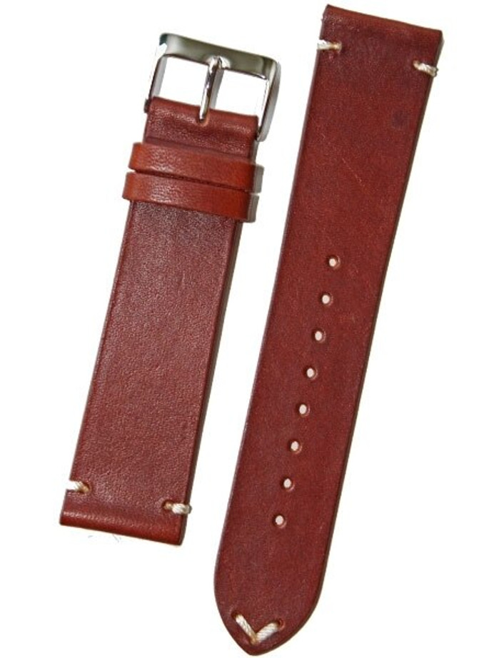Horween Vintage Style Cognac Calfskin Leather with Matching Lining and Hand-Stitching #INS-HOR14
