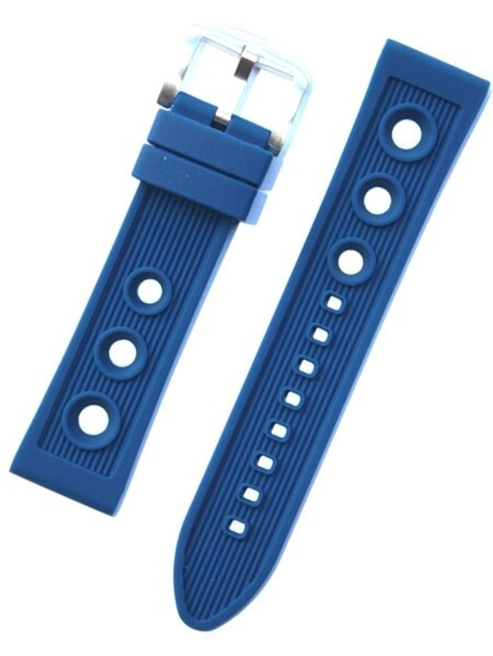 Toscana Blue Silicone Rubber Rally Watch Band with Silver Buckle RUB-24-40