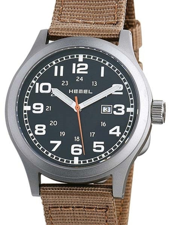 HEMEL Justice Swiss ETA Quartz Field Watch with Matte Black Dial and Sapphire Crystal #HM8