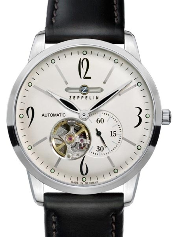 Graf Zeppelin Flatline Automatic Open-Heart Watch with Small Seconds #7360-4