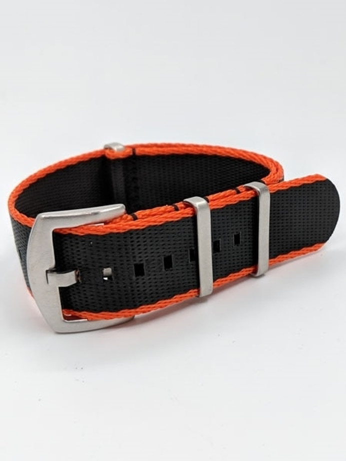 NATO-Style Black and Orange Seat Belt Weave Nylon Strap with Stainless Steel Buckle  #SB-03-SS
