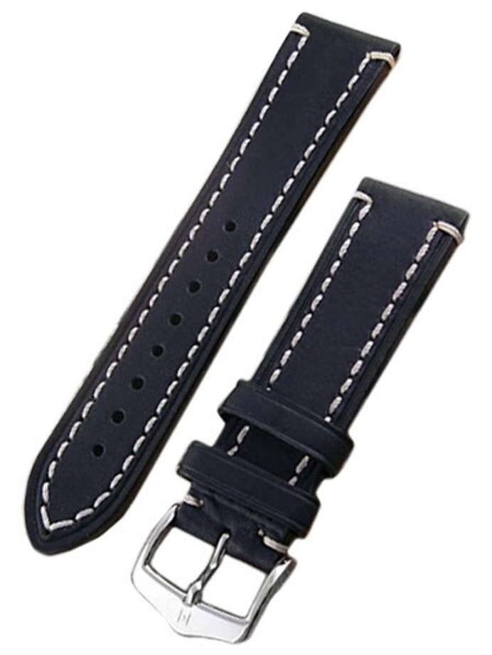 Hirsch Liberty One Piece Black Calf Leather Watch Strap #109002-50