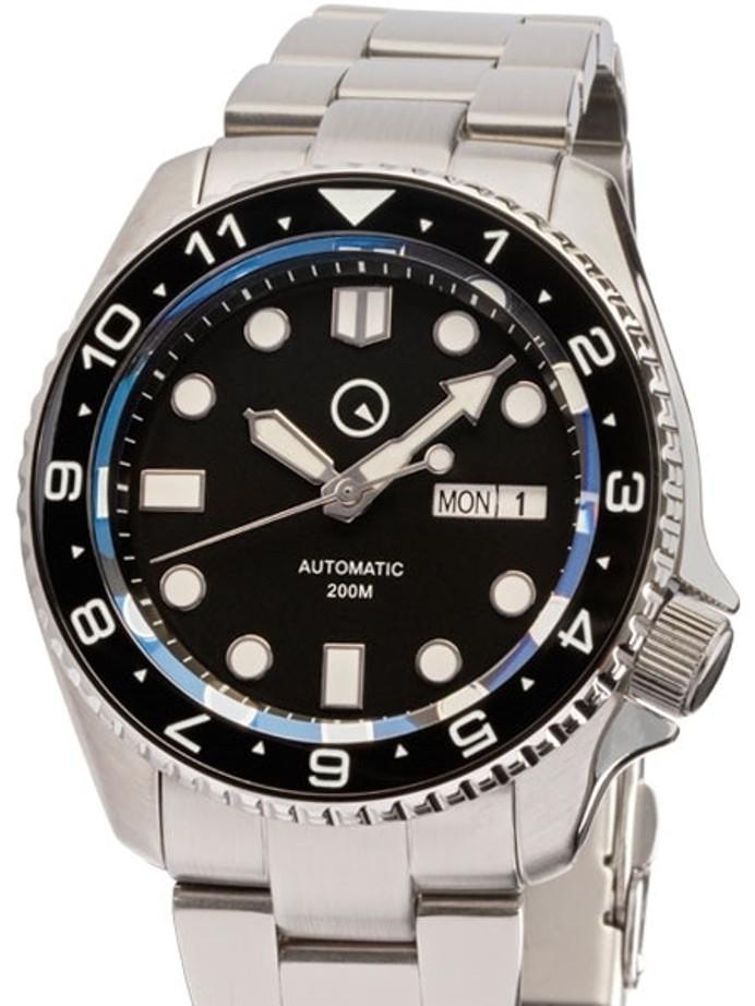 Islander Automatic Dive Watch with Solid-Link Bracelet, AR Sapphire Crystal, Dual-Time Luminous Ceramic Bezel Insert #ISL-01