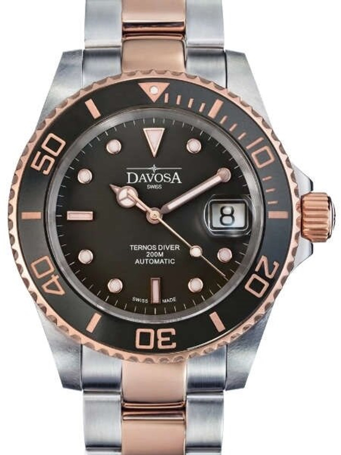Davosa Two-Tone Ternos Swiss Automatic 200 Meter Dive Watch #16155565