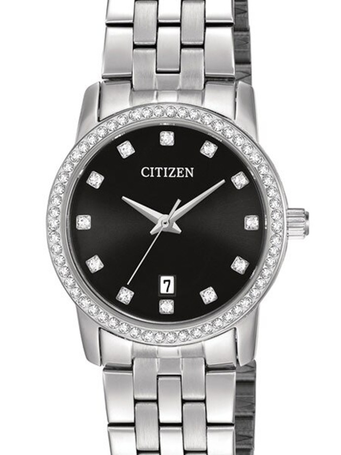 Citizen Ladies Dress Watch with Swarovski Crystals, Radiant Black Dial #EU6030-56E