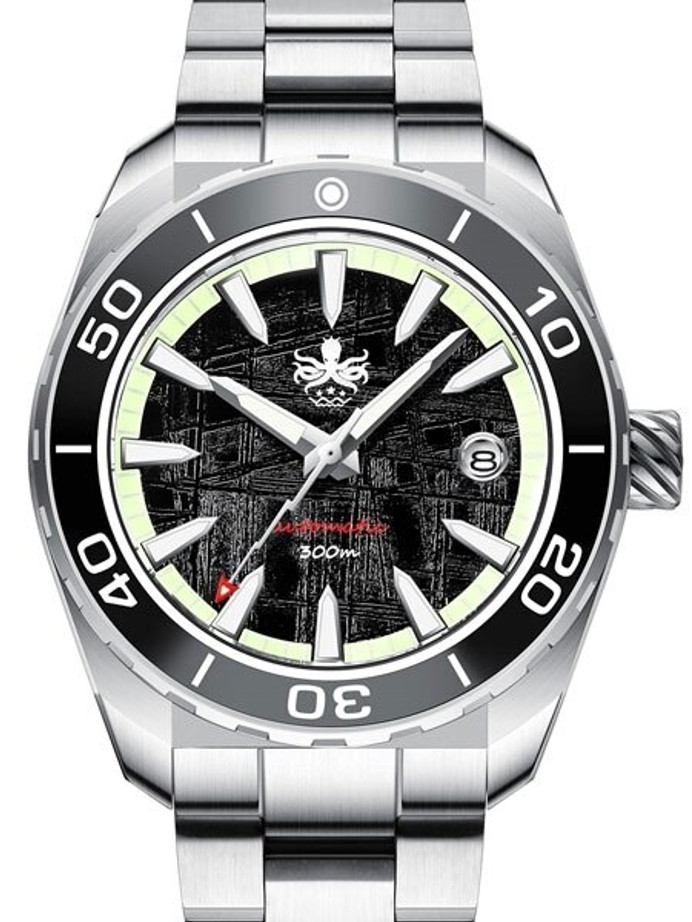 PHOIBOS Proteus 300-Meter Automatic Dive Watch with Meteorite Dial, AR Double Dome Sapphire Crystal #PY024E