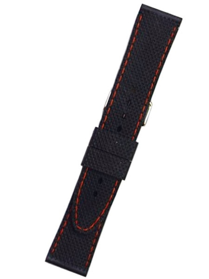 Toscana Black Silicone Rubber Dive Watch Band with Orange Stitching RUB-27-54