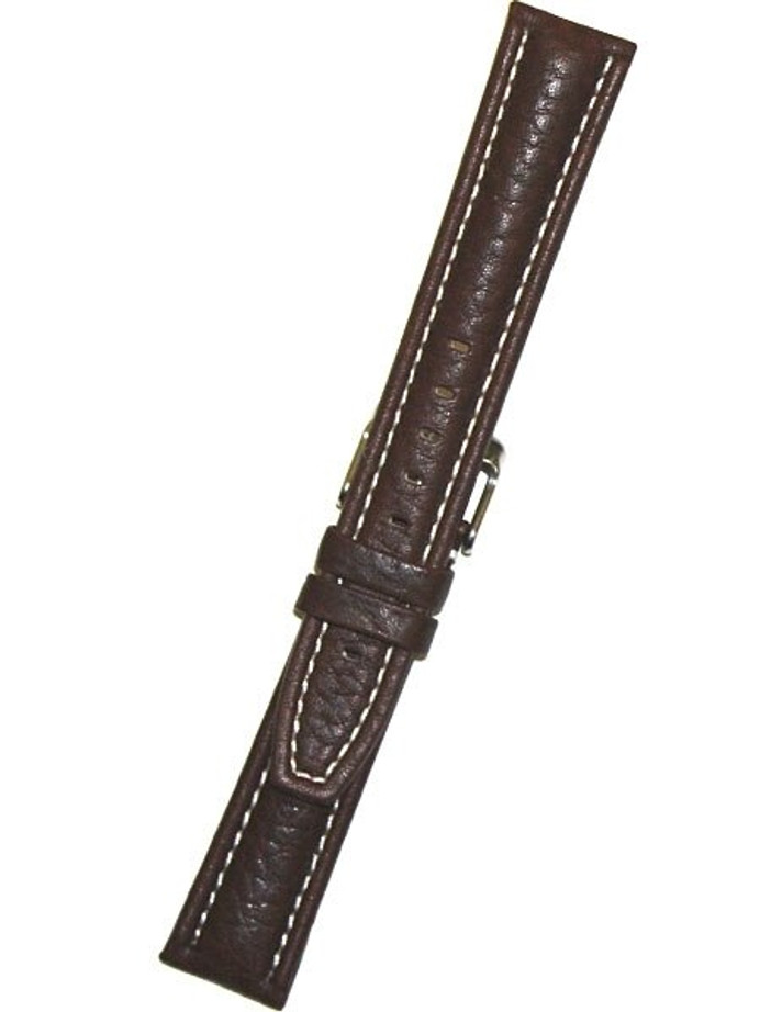 Calfskin Distressed Aviator Brown Leather Strap with Heavy Padding #BON-93680 (Long)