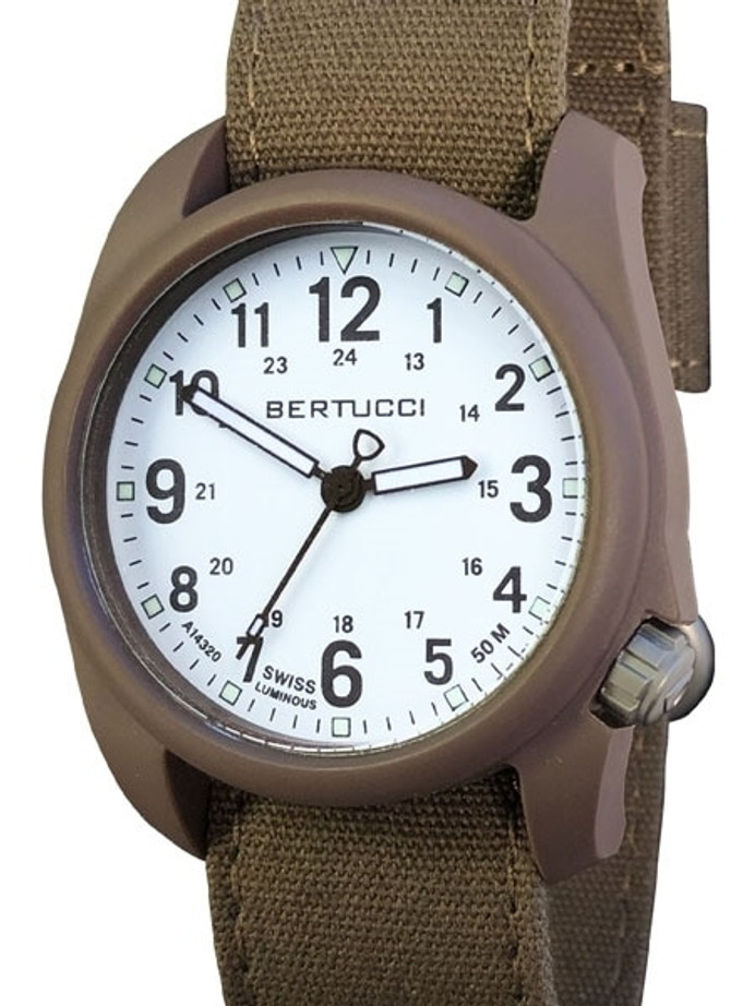 Bertucci DX3 Canvas Polycarbonate Unibody Watch, Bark Comfort Band, White Dial - 11087