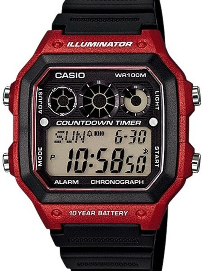 Casio Referee Timer Sport Watch with Stopwatch, 29 Time Zones #AE-1300WH-4AV