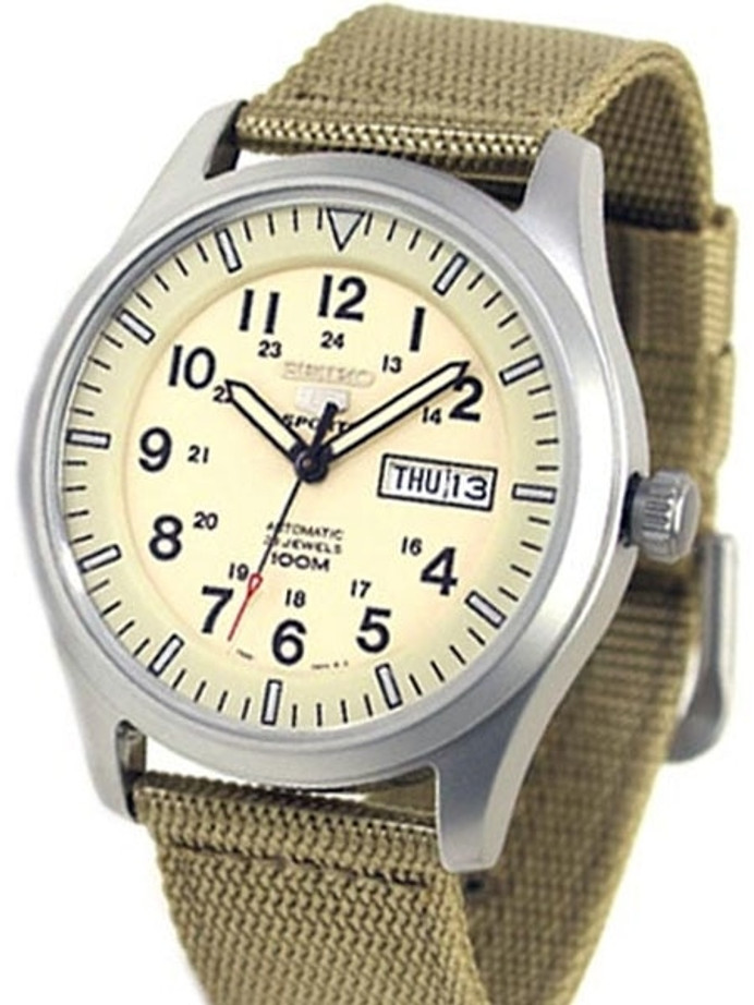 Seiko Military Creme Dial Automatic Watch with 42mm Case, Tan Canvas Strap #SNZG07K1
