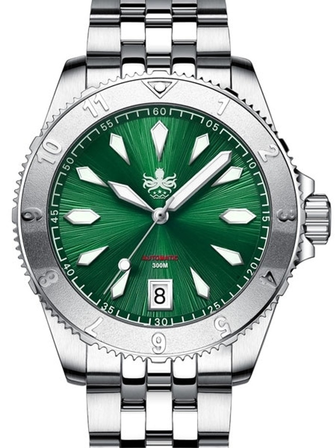 PHOIBOS Green Voyager 300-Meter Automatic Dive Watch with Double Dome AR Sapphire Crystal #PY026A