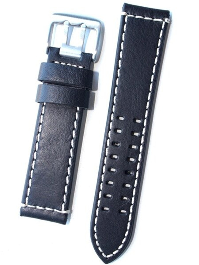 Toscana Black Italian Leather Strap with Double-Tongue Buckle, Contrasting Stitching #EPBX-25730