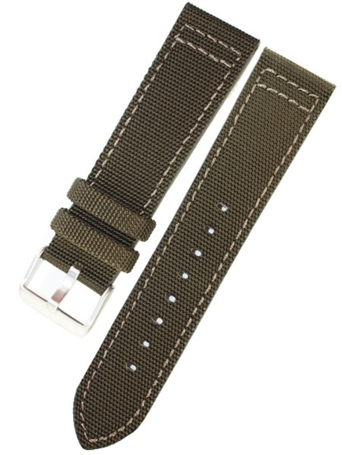 Toscana Army Green Canvas with Leather Backing Watch Strap #INS-CAN70