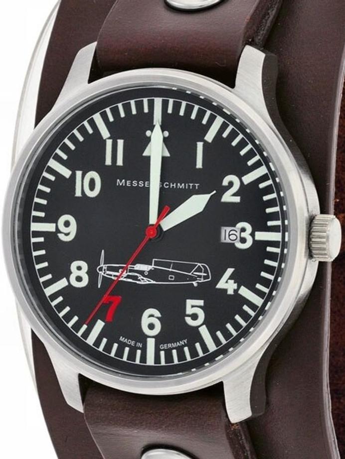 Messerschmitt Aviator Watch with Cuff-Style Leather Strap, SuperLuminova  #109-42R7