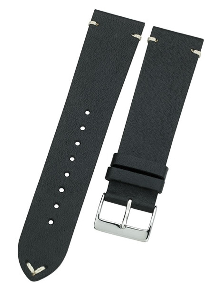 Horween Vintage Style Black Calfskin Leather with Matching Lining and Hand-Stitching #INS-HOR01