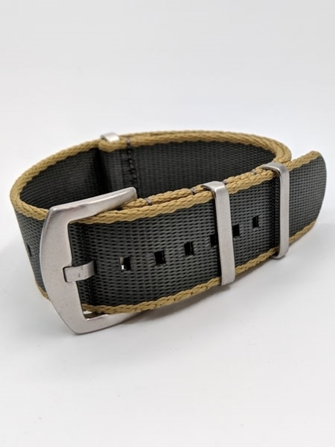 NATO-Style Grey and Khaki Seat Belt Weave Nylon Strap with Stainless Steel Buckle  #SB-02-SS