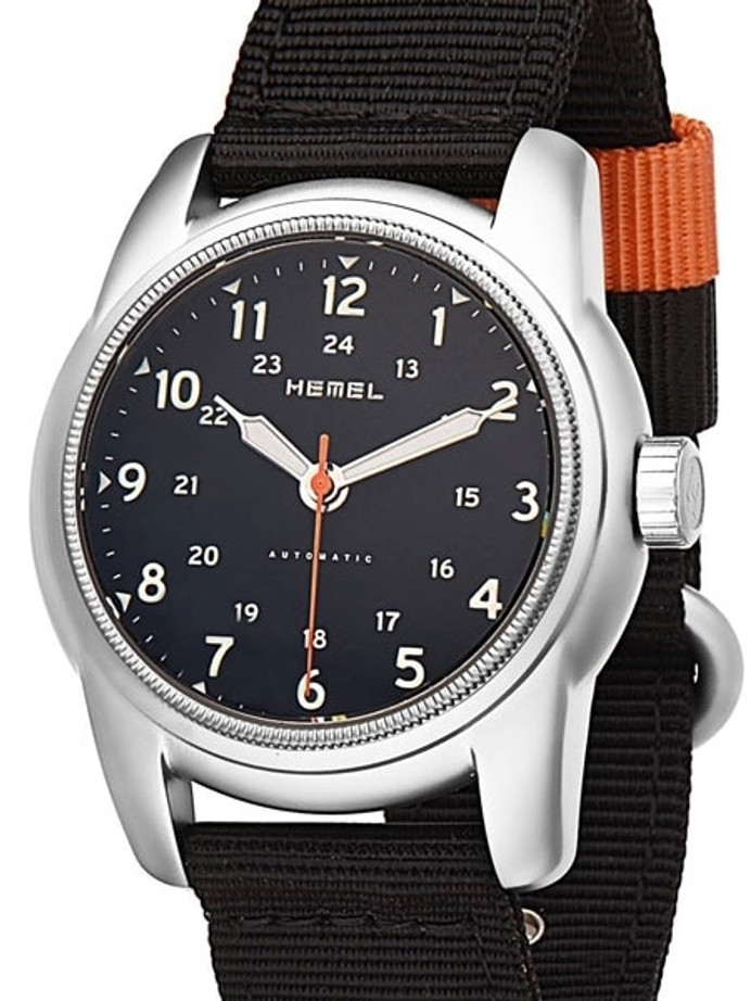 HEMEL 24 Automatic Military-Styled Watch Bead Blasted Case and Sapphire Crystal #HM1B
