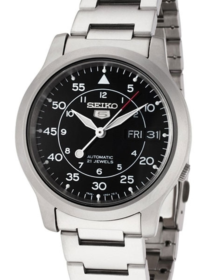 Seiko 5 Military Black Dial Automatic Watch with Bracelet #SNK809K1