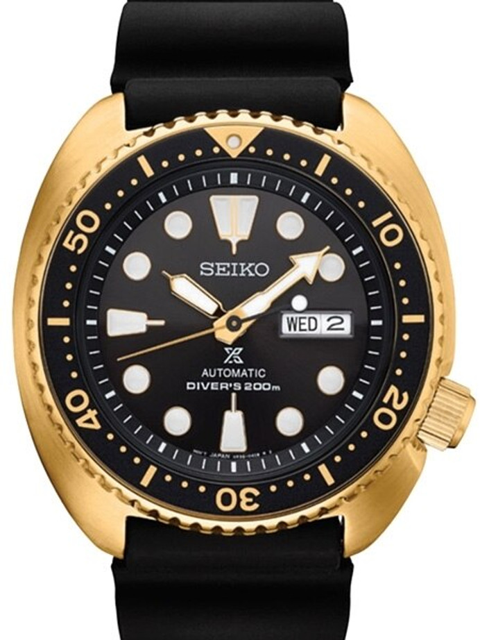 Seiko Turtle Prospex Automatic Dive Watch with Goldtone Case and Black Seiko Dive Strap #SRPC44