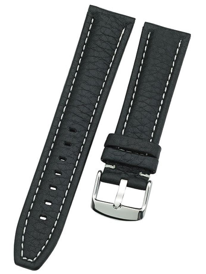 Calfskin Distressed Aviator Black Leather Strap with Heavy Padding #BON-93630 (Long)