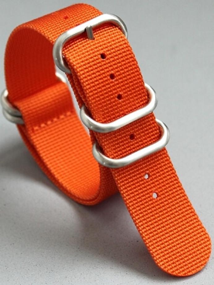 5-Ring NATO-Style Orange Nylon Strap with Matte Finish Steel Buckle #NATO5R-17-SS