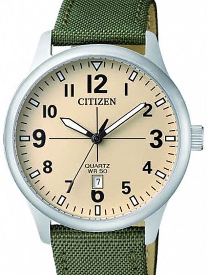 Citizen Champagne Dial Quartz Watch with Green Nylon Strap #BI1050-05X
