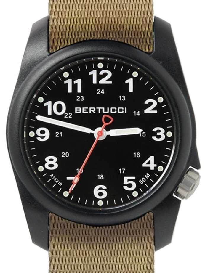 Bertucci A-1R Field Comfort watch with fiber reinforced polycarbonate Unibody case, Khaki Nylon Strap, Black Dial #10502