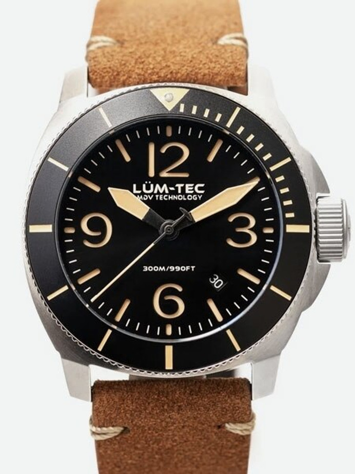 Lum-Tec 44mm Swiss Quartz Dive Watch with AR Sapphire Crystal, Luminous Bezel #M88