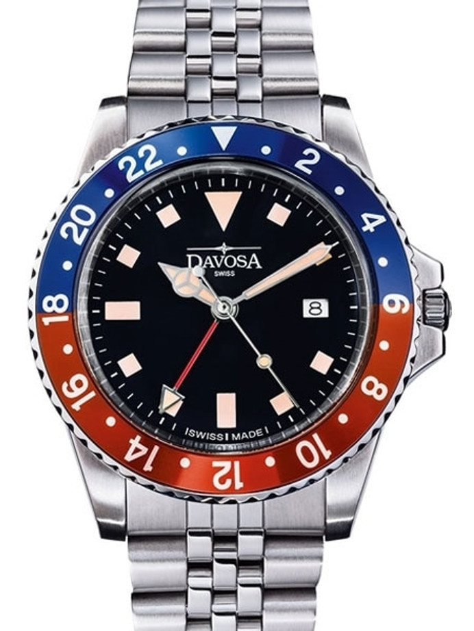 Davosa Vintage-Styled 100-Meter GMT Dual Time Watch with Bracelet #16350090