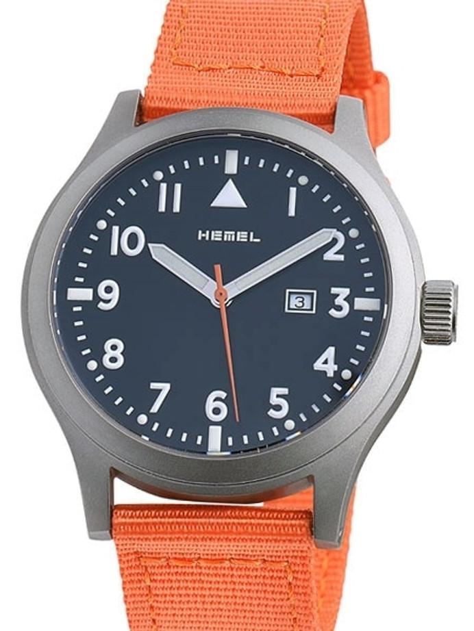 HEMEL Alpha Swiss ETA Quartz Field Watch with Matte Black Dial and Sapphire Crystal #HM6