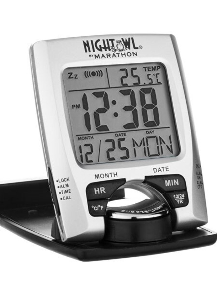 Marathon Travel Alarm Clock with Calendar, Temperature, 12 or 24 Hour Format #CL030023