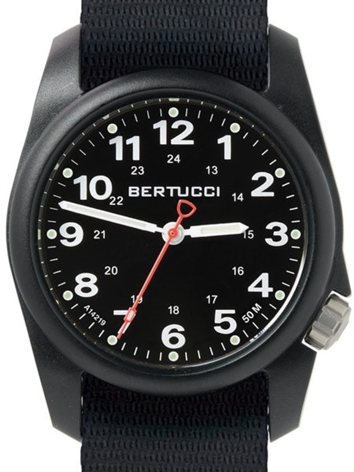 Bertucci A-1R Field Comfort watch with fiber reinforced polycarbonate Unibody case, Black Nylon Strap, Black Dial #10500