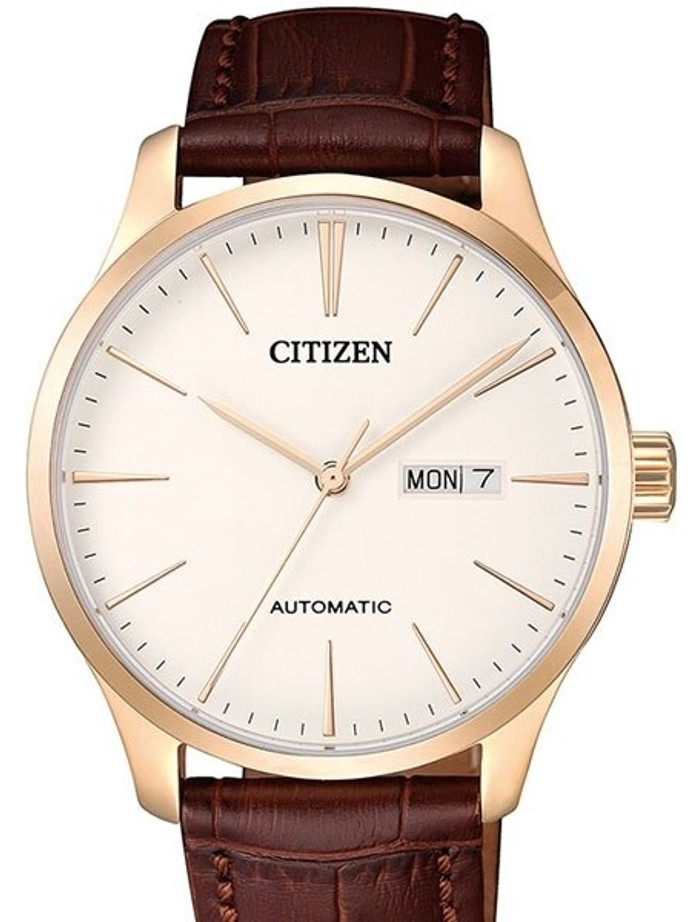 Citizen Automatic White Dial Watch with Brown Leather Strap #NH8353-18A