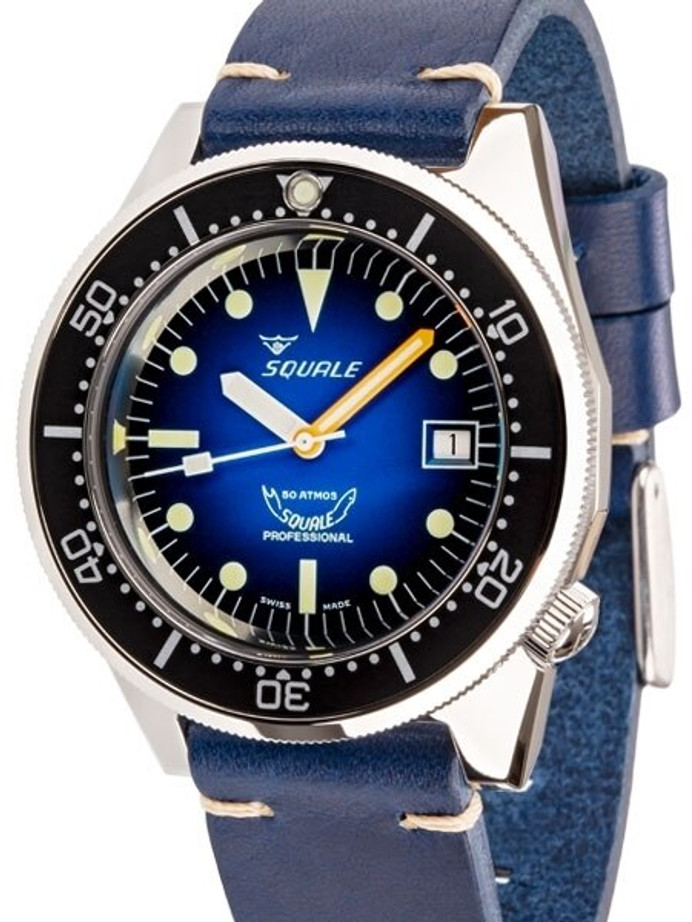 Squale 500 Meter Swiss Made Automatic Dive Watch with Ombré Blue Dial  #1521-PROFD