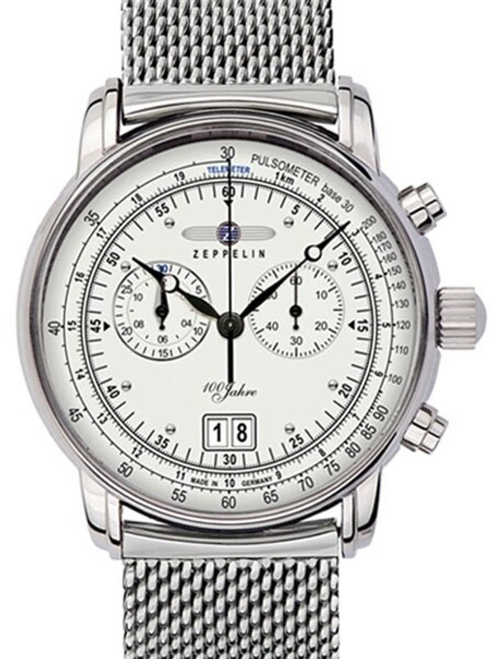 Graf Zeppelin Chronograph Big Date Watch with 12-hr Totalizer, Mesh Bracelet #7690M-1