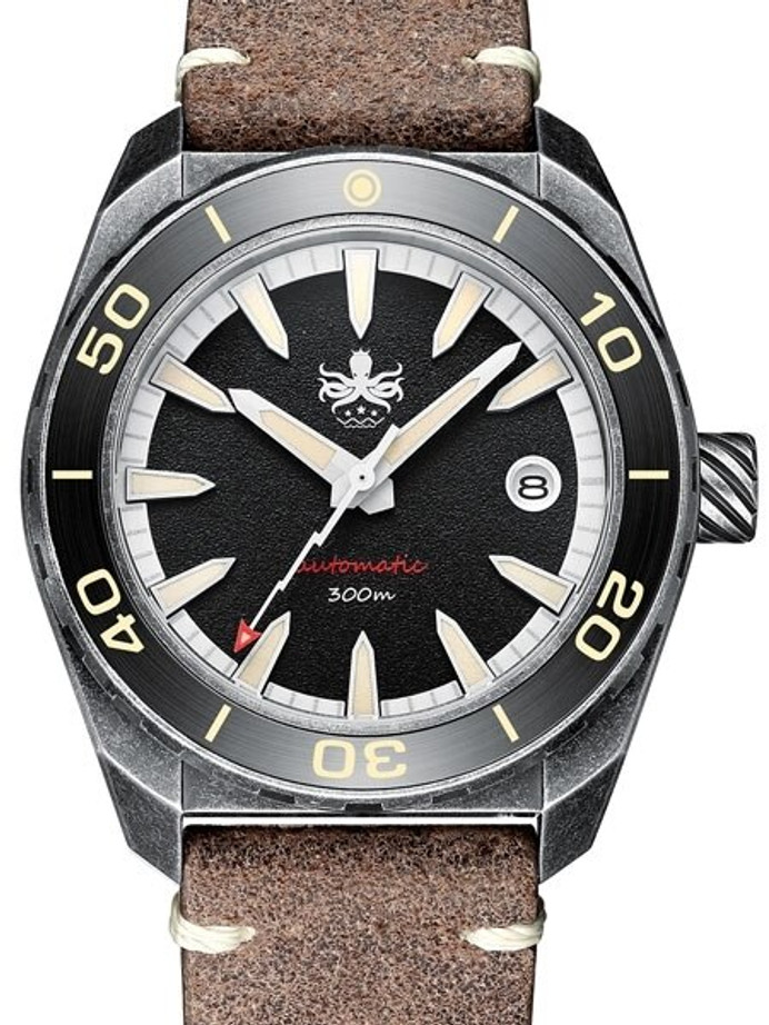 PHOIBOS Black Proteus 300-Meter Automatic Dive Watch with AR Double Dome Sapphire Crystal #PY028C
