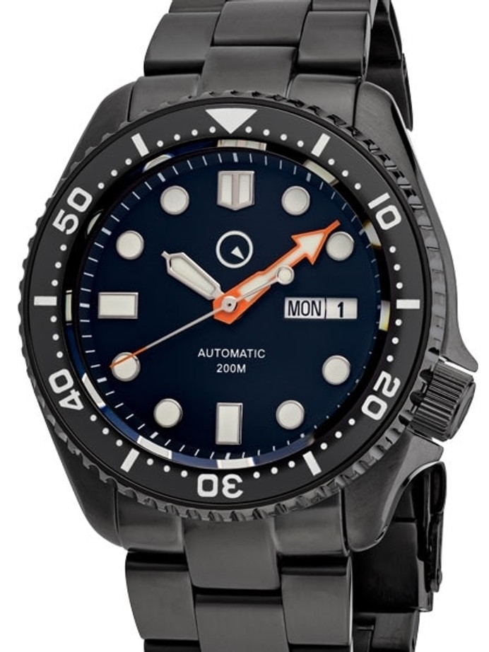 Islander Black Dial Automatic Dive Watch with DLC Case and Bracelet, AR Sapphire Crystal, and Luminous Ceramic Bezel Insert #ISL-34
