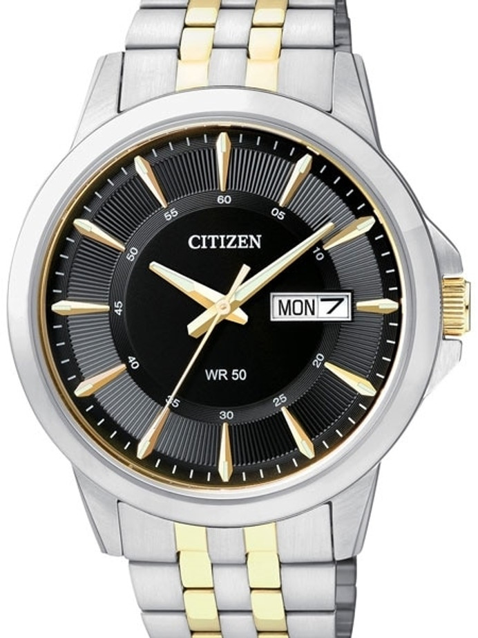 Citizen Two-Tone Quartz Watch with Stainless Steel Bracelet #BF2018-52E
