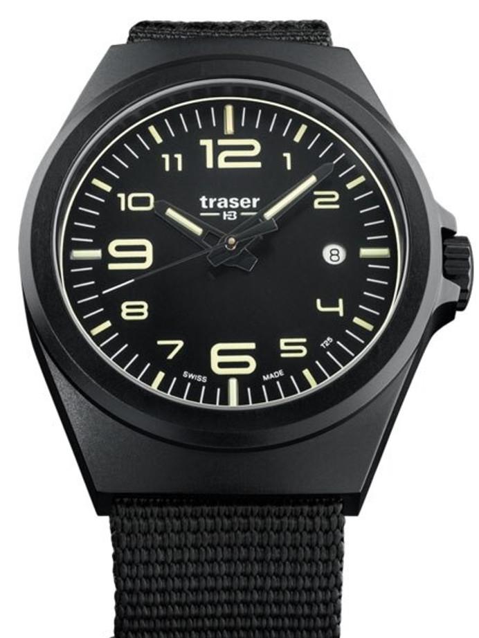 Traser P59 Essential M Black Dial Watch w/Trigalight + SuperLuminova #108218